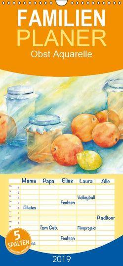 Obst Aquarelle – Familienplaner hoch (Wandkalender 2019 , 21 cm x 45 cm, hoch) von Krause,  Jitka