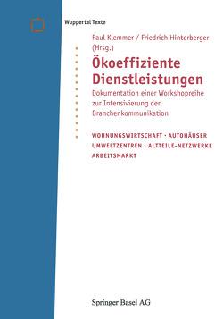 Ökoeffiziente Dienstleistungen von Hinterberger,  Friedrich, Klemmer,  Paul