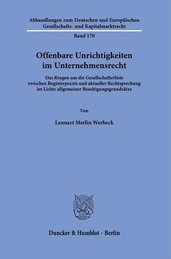 Offenbare Unrichtigkeiten im Unternehmensrecht. von Werbeck,  Lennart Merlin