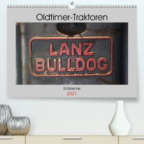 Oldtimer Traktoren – Embleme (Premium, hochwertiger DIN A2 Wandkalender 2021, Kunstdruck in Hochglanz) von Ehrentraut,  Dirk