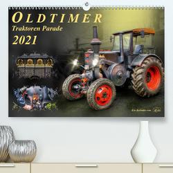 Oldtimer – Traktoren Parade (Premium, hochwertiger DIN A2 Wandkalender 2021, Kunstdruck in Hochglanz) von Roder,  Peter