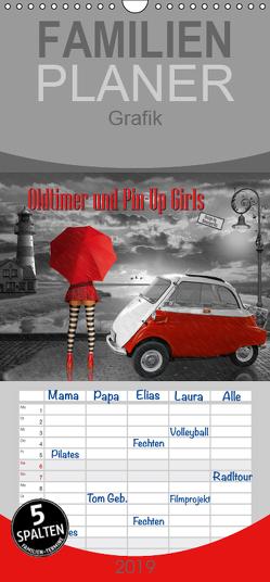 Oldtimer und Pin-Up Girls by Mausopardia – Familienplaner hoch (Wandkalender 2019 , 21 cm x 45 cm, hoch) von Jüngling alias Mausopardia,  Monika
