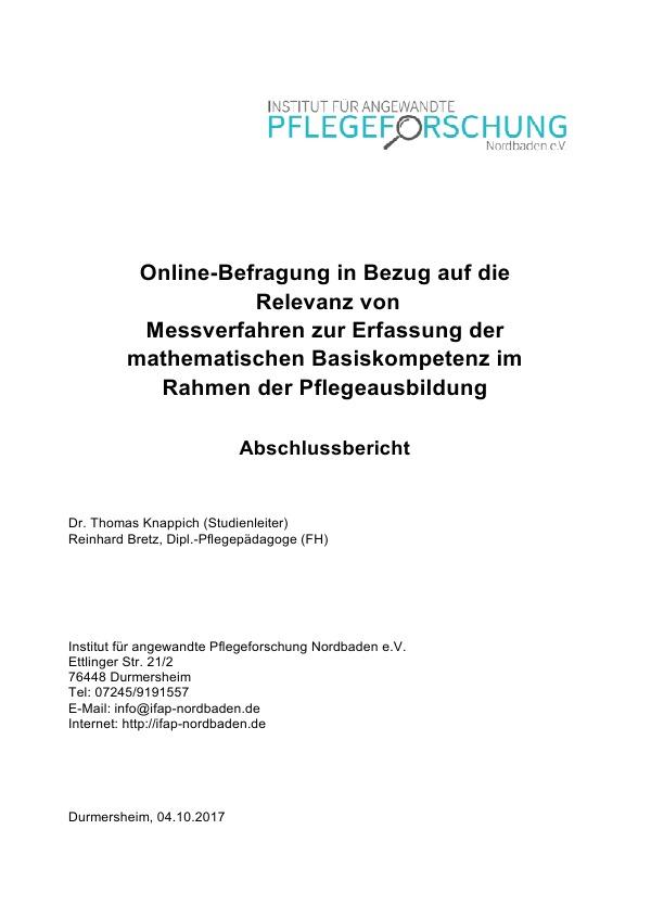 Online-Befragung in Bezug auf die Relevanz von Messverfahren zur Erfas