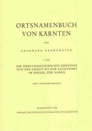 Ortsnamensbuch von Kärnten von Kranzmayer,  Eberhard