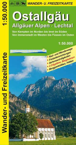 Ostallgäu, Allgäuer Alpen, Lechtal Wander- und Freizeitkarte