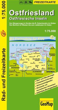 Ostfriesland Ostfriesische Inseln 1:75.000 Rad- und Freizeitkarte von GeoMap