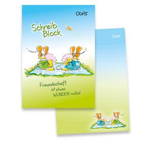 Oups-Schreibblock A5 – blau/grün