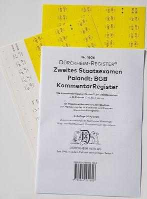 2. Staatsexamen Palandt-BGB Griffregister Nr. 1606 (2019/2020) von Dürckheim,  Constantin, Grassinger,  Nathanael