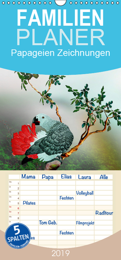 Papageien Zeichnungen – Familienplaner hoch (Wandkalender 2019 , 21 cm x 45 cm, hoch) von Djeric,  Dusanka