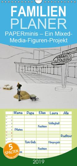 PAPERminis – Ein Mixed-Media-Figuren-Projekt mit Stift und Papier – Familienplaner hoch (Wandkalender 2019 , 21 cm x 45 cm, hoch) von Gimpel,  Frauke