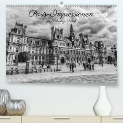 Paris-Impressionen in Schwarz-Weiß (Premium, hochwertiger DIN A2 Wandkalender 2020, Kunstdruck in Hochglanz) von Müller,  Christian