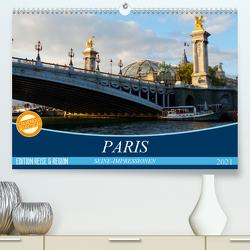 Paris Seine-Impressionen (Premium, hochwertiger DIN A2 Wandkalender 2021, Kunstdruck in Hochglanz) von Kruse,  Gisela