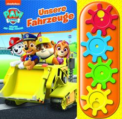 PAW Patrol – Unsere Fahrzeuge – Interaktives Pappbilderbuch mit 4 Zahnrädern und 5 Geräuschen für Kinder ab 3 Jahren