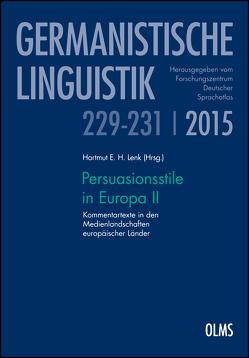 Persuasionsstile in Europa II von Lenk,  Hartmut E. H.