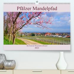 Pfälzer Mandelpfad – Die Deutsche Weinstraße in Rosarot (Premium, hochwertiger DIN A2 Wandkalender 2021, Kunstdruck in Hochglanz) von LianeM
