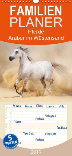 Pferde • Araber im Wüstensand – Familienplaner hoch (Wandkalender 2019 , 21 cm x 45 cm, hoch) von Stanzer,  Elisabeth