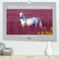 Pferde im wilden Kaukasus (Premium, hochwertiger DIN A2 Wandkalender 2021, Kunstdruck in Hochglanz) von cycleguide