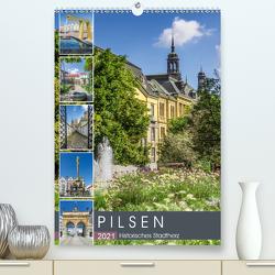 PILSEN Historisches Stadtherz (Premium, hochwertiger DIN A2 Wandkalender 2021, Kunstdruck in Hochglanz) von Viola,  Melanie