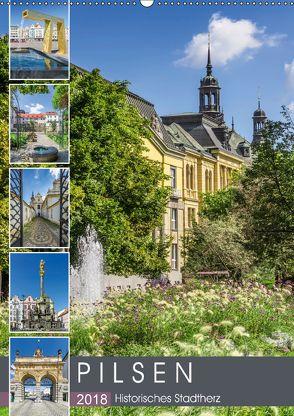 PILSEN Historisches Stadtherz (Wandkalender 2018 DIN A2 hoch) von Viola,  Melanie