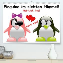 Pinguine im siebten Himmel! (Premium, hochwertiger DIN A2 Wandkalender 2021, Kunstdruck in Hochglanz) von Stanzer,  Elisabeth