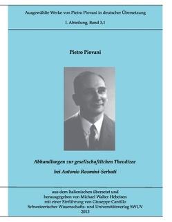 Piovani-Edition Bd. 3,1 von Cantillo,  Giuseppe, Hebeisen,  Michael Walter, Piovani,  Pietro