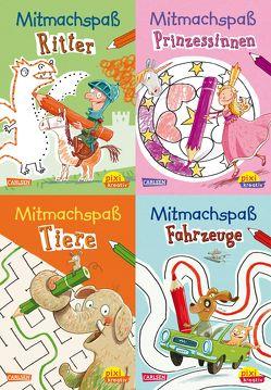 Pixi-kreativ-Box 27: Lustiger Mitmachspaß für unterwegs (4×7 Exemplare) von Hill,  Juliane, Jakobs,  Günther