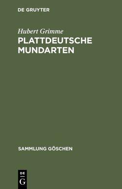 Plattdeutsche Mundarten von Grimme,  Hubert