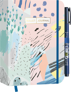 "Pocket Bullet Journal ""Abstract Art"" mit Original Tombow Brush Pen Fudenosuke in schwarz"
