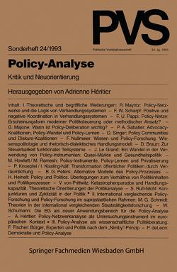Policy-Analyse von Héritier,  Adrienne