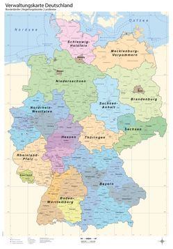 Politische Verwaltungskarte von Deutschland mit Laminierung (beschreib- und abwischbar)
