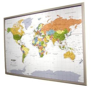Politische Weltkarte in deutsch auf Kork-Pinnwand 90x60cm