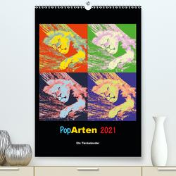 PopArten 2021 – Ein Tierkalender (Premium, hochwertiger DIN A2 Wandkalender 2021, Kunstdruck in Hochglanz) von Weigt,  Mirko