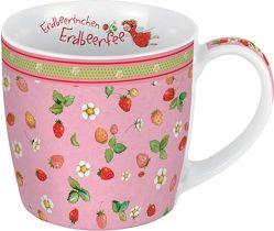 Porzellantasse Erdbeerinchen. Motiv Allover