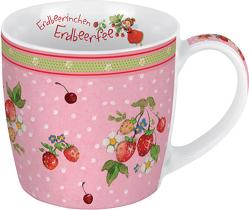 Porzellantasse Erdbeerinchen. Motiv Erdbeerbusch