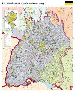 Postleitzahlenkarte Baden-Württemberg XL mit Laminierung (beschreib- und abwischbar)