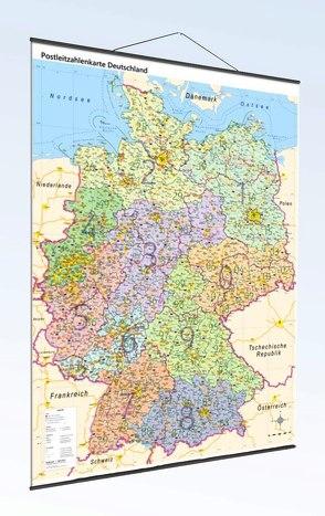 Postleitzahlenkarte Deutschland mit Bundesländern Laminierung und Metallleisten, DIN A0