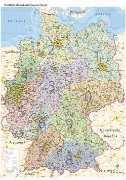 Postleitzahlenkarte Deutschland mit Bundesländern, DIN A0 von Geometro GmbH,  Matthias Urban