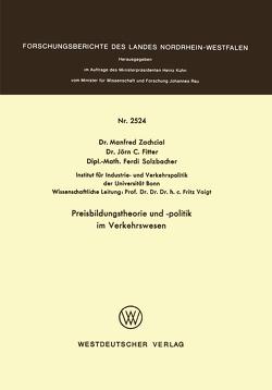 Preisbildungstheorie und -politik im Verkehrswesen von Zachcial,  Manfred