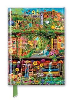Premium Notizbuch DIN A5: Aimee Stewart, Bücherregal Garten