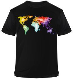 Premium-T-Shirt Welt bunt aquarell von Stiefel,  Heinrich