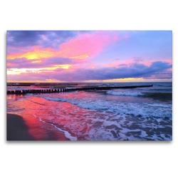 Premium Textil-Leinwand 120 x 80 cm Quer-Format Abendstimmung am Meer | Wandbild, HD-Bild auf Keilrahmen, Fertigbild auf hochwertigem Vlies, Leinwanddruck von Claudia Schimmack