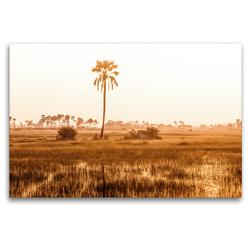 Premium Textil-Leinwand 120 x 80 cm Quer-Format Afrikanischer Sumpf bei Dämmerung | Wandbild, HD-Bild auf Keilrahmen, Fertigbild auf hochwertigem Vlies, Leinwanddruck von Noah Leon Mäder