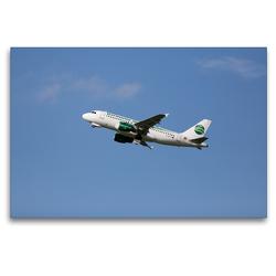 Premium Textil-Leinwand 120 x 80 cm Quer-Format Airbus A319-112 | Wandbild, HD-Bild auf Keilrahmen, Fertigbild auf hochwertigem Vlies, Leinwanddruck von Frank Gayde
