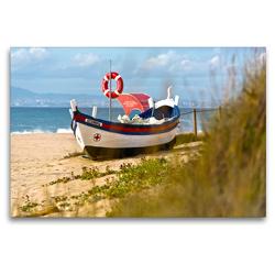 Premium Textil-Leinwand 120 x 80 cm Quer-Format Altes Fischerboot Sesimbra | Wandbild, HD-Bild auf Keilrahmen, Fertigbild auf hochwertigem Vlies, Leinwanddruck von Georg Arnold