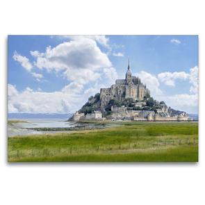Premium Textil-Leinwand 120 x 80 cm Quer-Format Am Mont St. Michel | Wandbild, HD-Bild auf Keilrahmen, Fertigbild auf hochwertigem Vlies, Leinwanddruck von Christine B-B Müller
