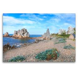Premium Textil-Leinwand 120 x 80 cm Quer-Format An der Côte de Granit Rose   Wandbild, HD-Bild auf Keilrahmen, Fertigbild auf hochwertigem Vlies, Leinwanddruck von Christine B-B Müller