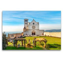 Premium Textil-Leinwand 120 x 80 cm Quer-Format Assisi – Mittelalterliches Herz Italiens   Wandbild, HD-Bild auf Keilrahmen, Fertigbild auf hochwertigem Vlies, Leinwanddruck von Alessandro Tortora