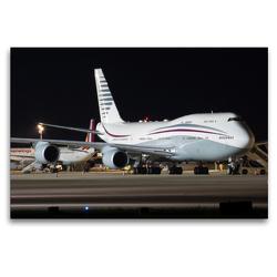 Premium Textil-Leinwand 120 x 80 cm Quer-Format B747-8 der Qatar Amiri Flight A7-HBJ nach der Landung aus Doha | Wandbild, HD-Bild auf Keilrahmen, Fertigbild auf hochwertigem Vlies, Leinwanddruck von Rainer Spoddig