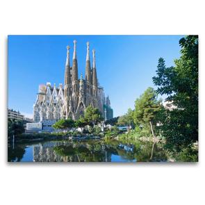 Premium Textil-Leinwand 120 x 80 cm Quer-Format Barcelona, Sagrada Familia | Wandbild, HD-Bild auf Keilrahmen, Fertigbild auf hochwertigem Vlies, Leinwanddruck von N N