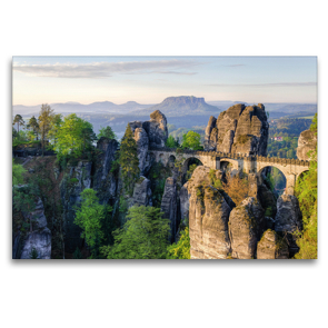 Premium Textil-Leinwand 120 x 80 cm Quer-Format Basteibrücke in der Sächsischen Schweiz | Wandbild, HD-Bild auf Keilrahmen, Fertigbild auf hochwertigem Vlies, Leinwanddruck von Michael Valjak